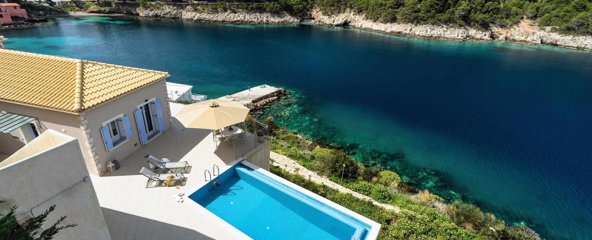 Aerial shot showing the outside area, pool and sea at Villa Plori, Assos, Kefalonia