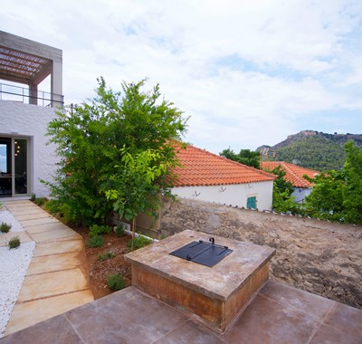 Planted outside space and entrance to Villa Vivere, Assos, Kefalonia