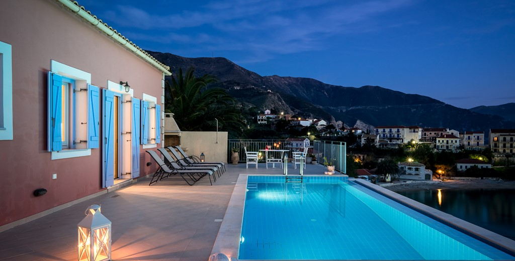 Mood lighting and view of the mountains ready for an evening swim outside Villa Panorama, Assos, Kefalonia