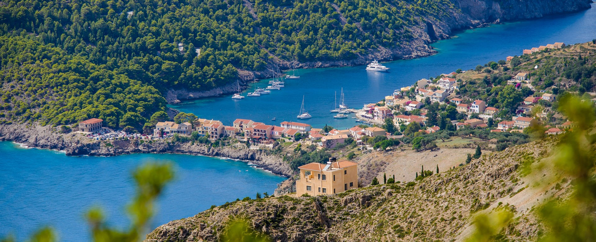 Looking down toward Assos village in Kefalonia