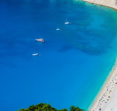 Myrtos bay and beach with crystal clear blue sea