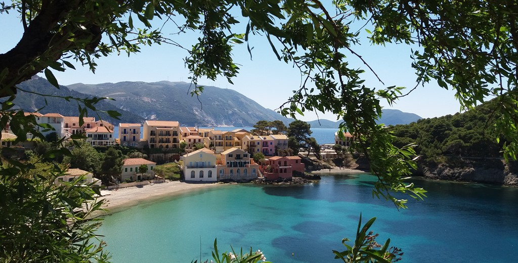 Sheltered view of the villas in Assos, Kefalonia