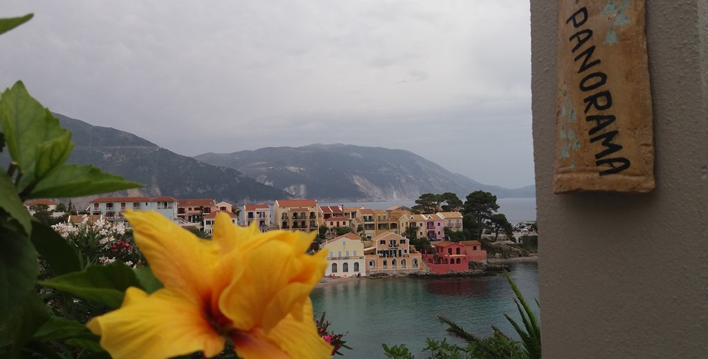 Welcoming views and sign into Villa Panorama, Assos, Kefalonia