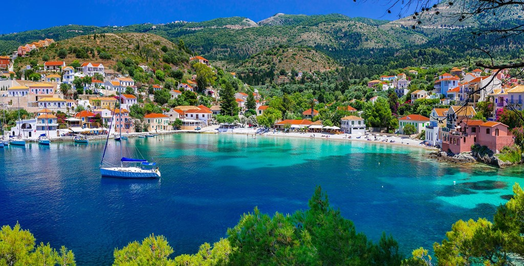 Looking down across the water into the village of Assos, Kefalonia, Greek Islands