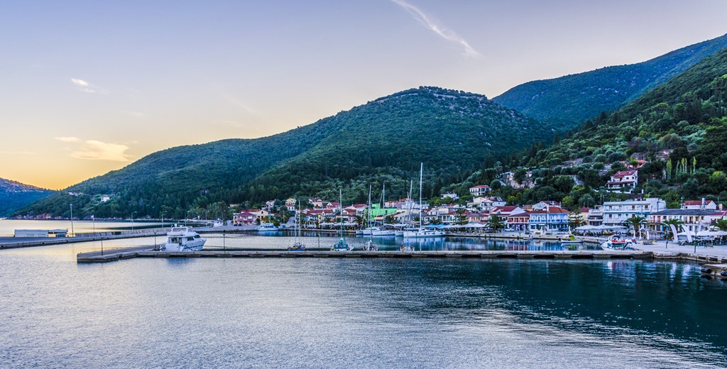 Sea, waterfront and mountain views of Sami, Kefalonia, Greek Islands