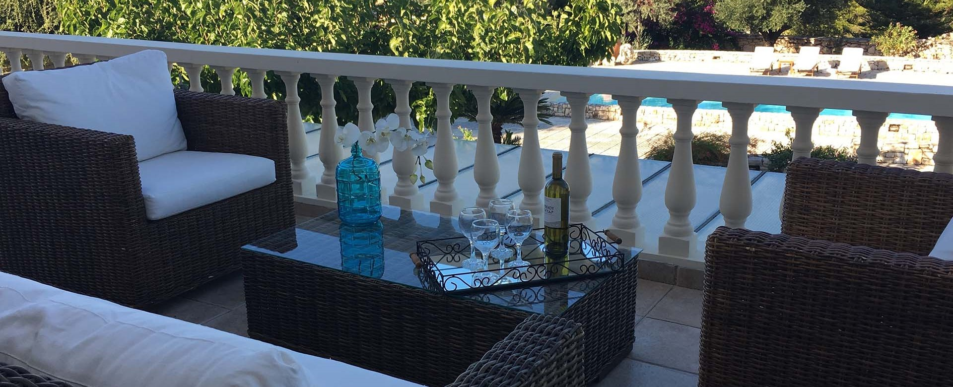 Comfortable private balcony seating outside Casa Angela, Melissani Apartments, Karavomilos, Kefalonia, Greek Islands