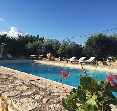 Sun coming up on another great relaxing holiday day at the pool in Casa Elena, Melissani Apartments, Karavomilos, Kefalonia, Greek Islands