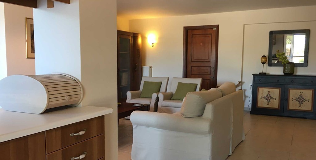 Open comfortable interior space at Casa Elena, Melissani Apartments, Karavomilos, Kefalonia, Greek Islands