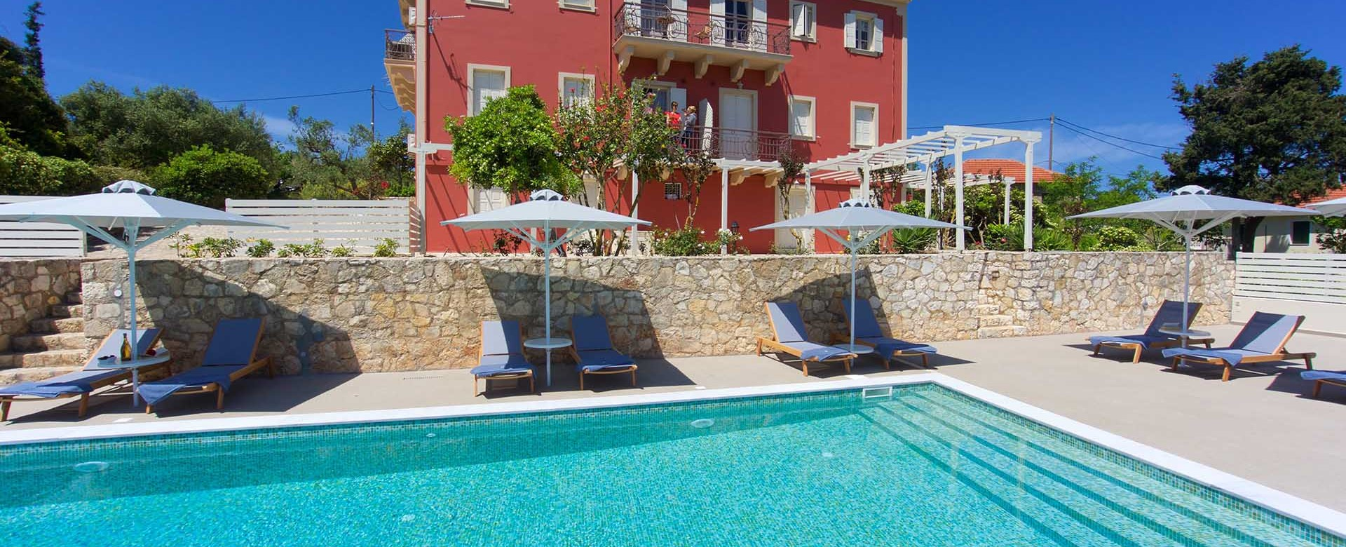 Poolside holiday at Magnolia Apartments, Fiscardo, Kefalonia, Greek Islands