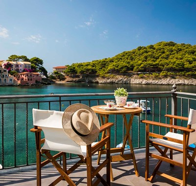 Take in the waterfront from the balcony at Thalassa House, Assos, Kefalonia, Greek Islands