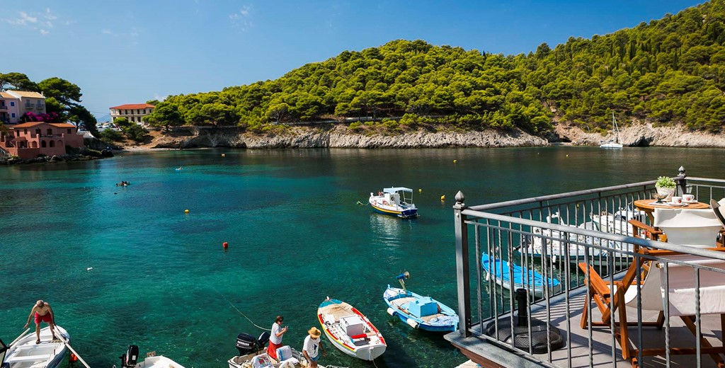 Step out of Thalassa House right onto the waterfront at Assos, Kefalonia, Greek Islands