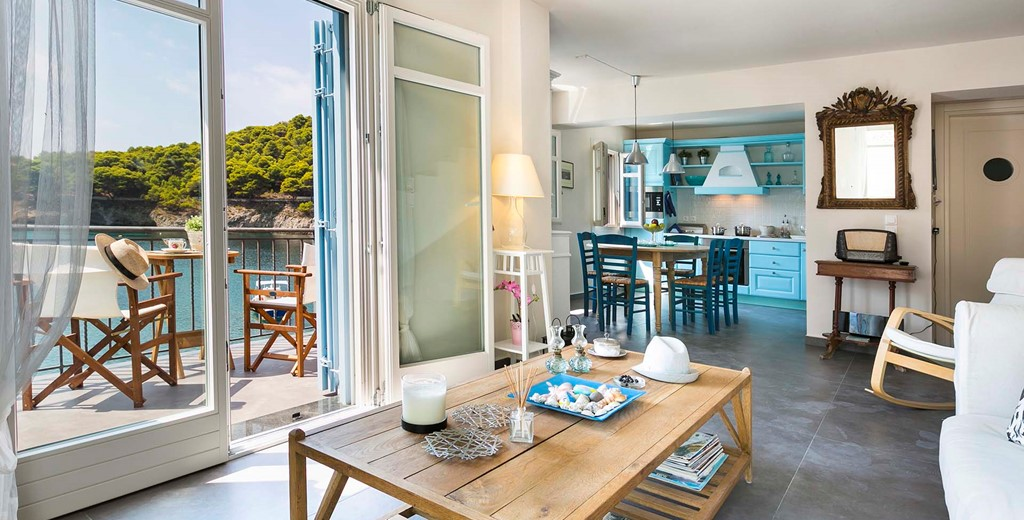Relax with a great view off the village and coast inside Thalassa House, Assos, Kefalonia, Greek Islands