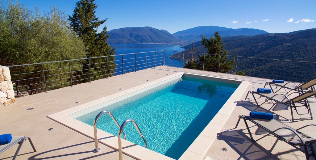 Jaw dropping views over the pool out onto the coastline from Villa Amore, Agia Efimia, Kefalonia, Greek Islands