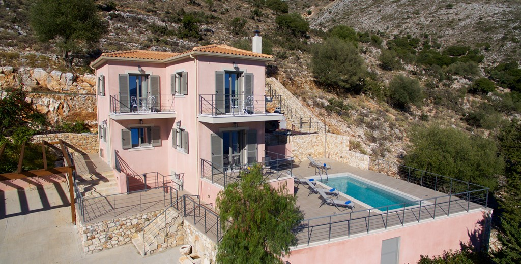 An aerial photo of Villa Amore, Agia Efimia, Kefalonia, Greek Islands
