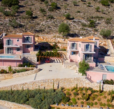 An aerial view of both Villa's in the complex at Agia Efimia, Kefalonia, Greek Islands