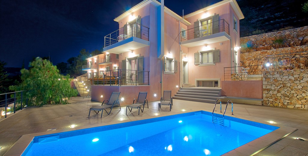 Stay and enjoy the outside after the sun has gone down with a lit pool outside Villa Amore, Agia Efimia, Kefalonia, Greek Islands
