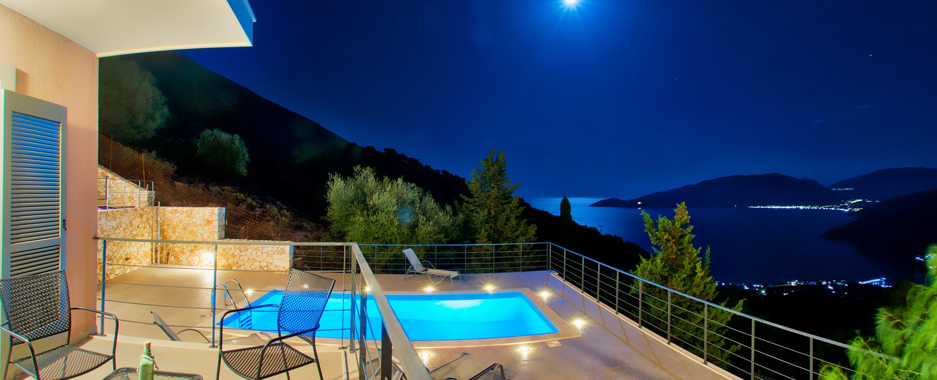 The moonlit view is just as spectacular from Villa Amore, Agia Efimia, Kefalonia, Greek Islands