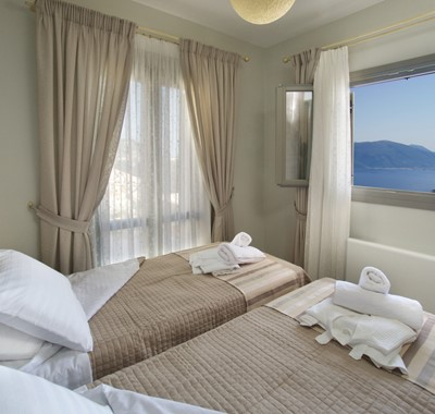 Bedroom with a view inside Villa Amore, Agia Efimia, Kefalonia, Greek Islands