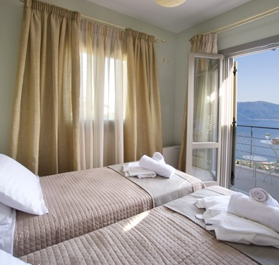 Wake up to an incredible view of the coastline inside Villa Amore, Agia Efimia, Kefalonia, Greek Islands