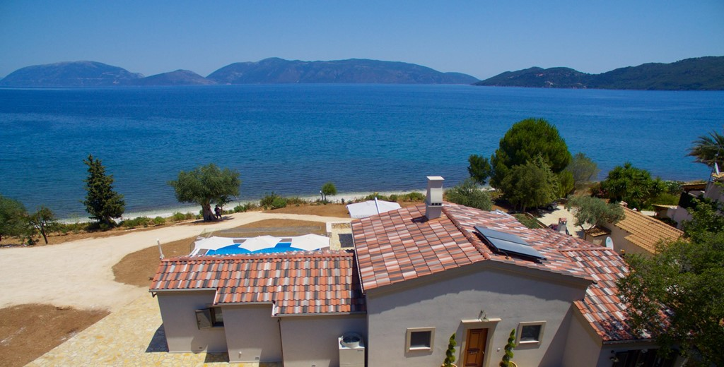 Aerial photo showing  Villa Frydi and just how close it is to the beach at Karavomilos, Kefalonia, Greek Islands