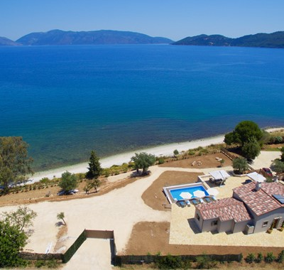Aerial photo of the whole Villa Frydi and looking out to sea from Karavomilos, Kefalonia, Greek Islands