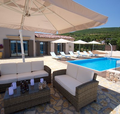 Escape the sun in comfort outside Villa Frydi, Karavomilos, Kefalonia, Greek Islands