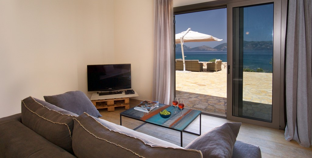 Sit in comfort inside but still enjoy the outside at Villa Frydi, Karavomilos, Kefalonia, Greek Islands
