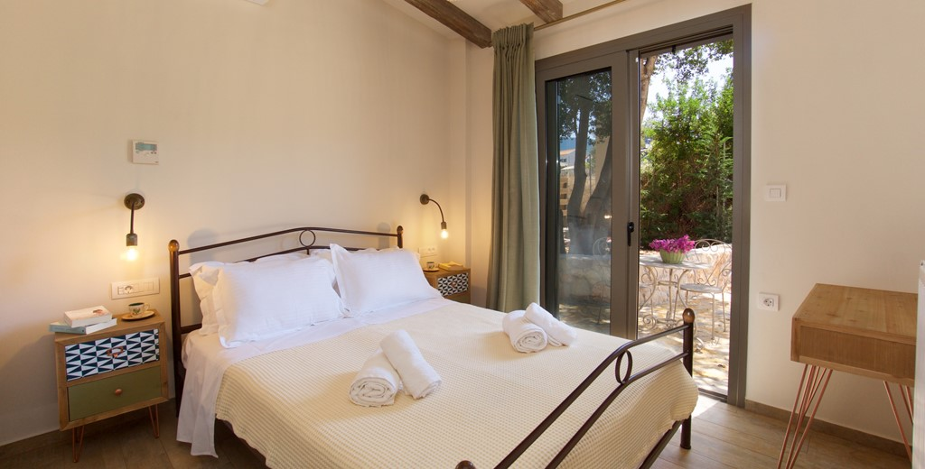 Double bedroom with access to the outside space in Villa Frydi, Karavomilos, Kefalonia, Greek Islands