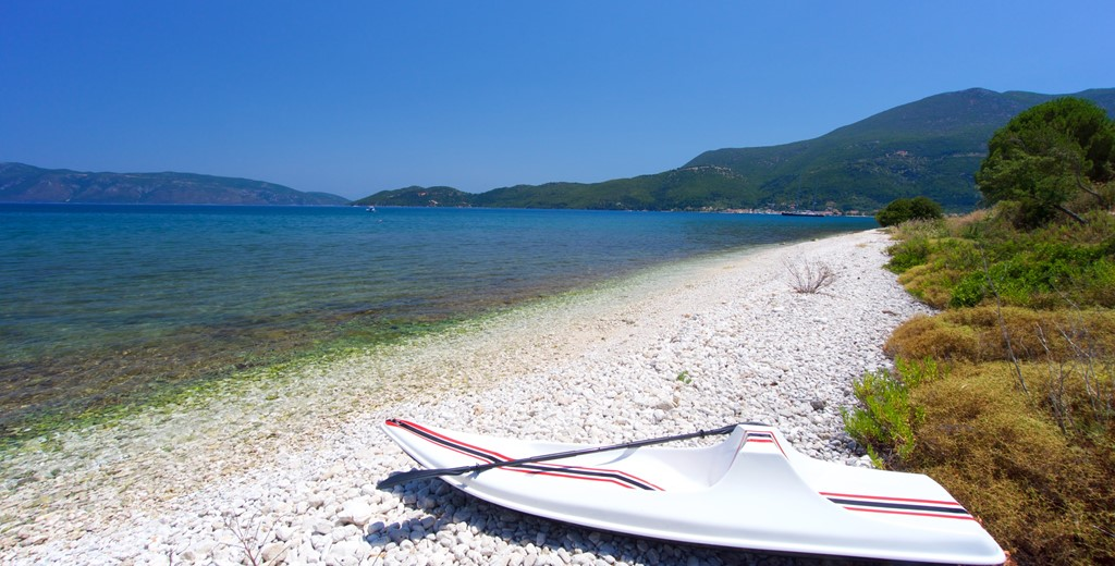 Take a stroll along the beach from Villa Frydi, Karavomilos, Kefalonia, Greek Islands