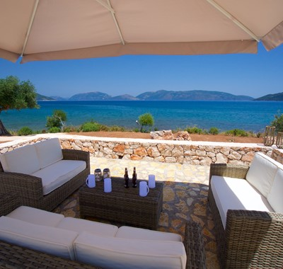 Enjoy a coffee in the shade during your holiday at Villa Frydi, Karavomilos, Kefalonia, Greek Islands