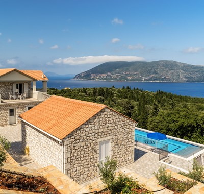 Aerial shot of breathtaking views from rear of villa at Villa Gionis Fiscardo, Kefalonia, Greek Islands