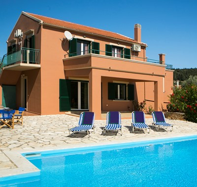 View of Villa Nefeli and its pool, Fiscardo, Kefalonia, Greece