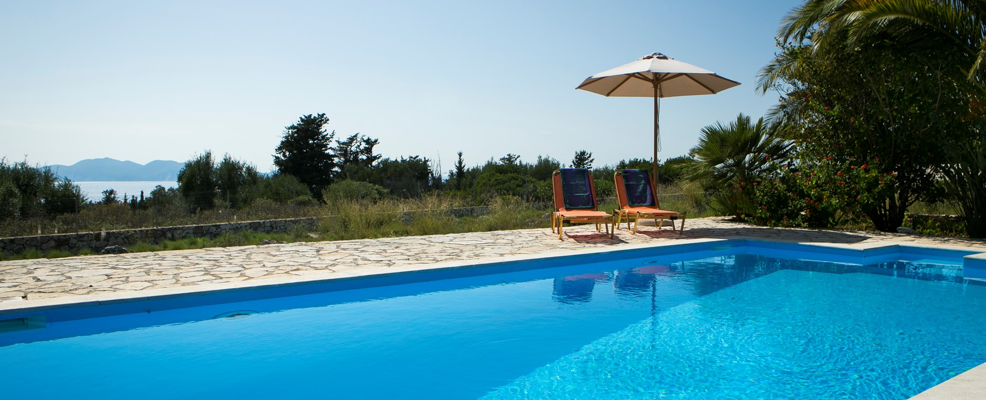 View of pool and views at Villa Nefeli, Fiscardo, Kefalonia