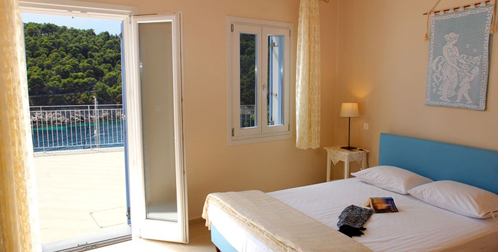 Master bedroom with a view inside Villa Panorama, Assos, Kefalonia