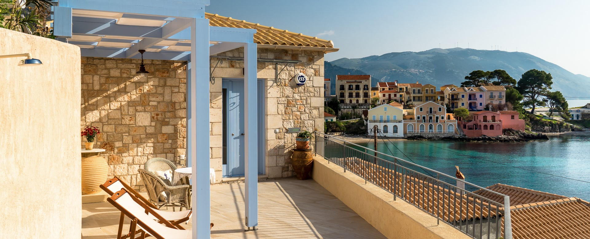 Stunning private terrace with postcard views across the water at Villa Petrino, Assos, Kefalonia, Greek Islands
