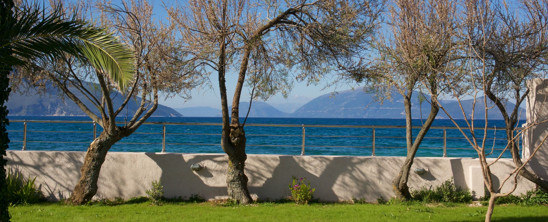 Beautiful views at end of the garden towards dedicated beach access at Villa Theano, Sami, Kefalonia, Greek Islands