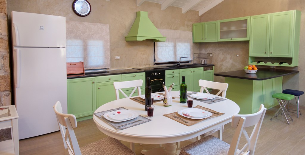 Modern fully equipped kitchen diner at Villa Theano, Sami, Kefalonia, Greek Islands