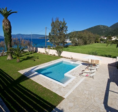 Aerial view over private pool towards beaches at Villa Theano, Sami, Kefalonia, Greek Islands