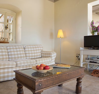 The lounge and sofa area inside Lemoni Cottage, Fiscardo, Kefalonia