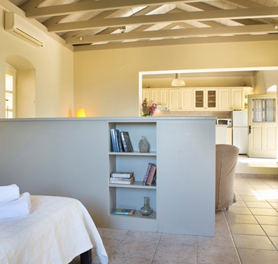 Light breathable and open interior of Lemoni Cottage, Fiscardo, Kefalonia