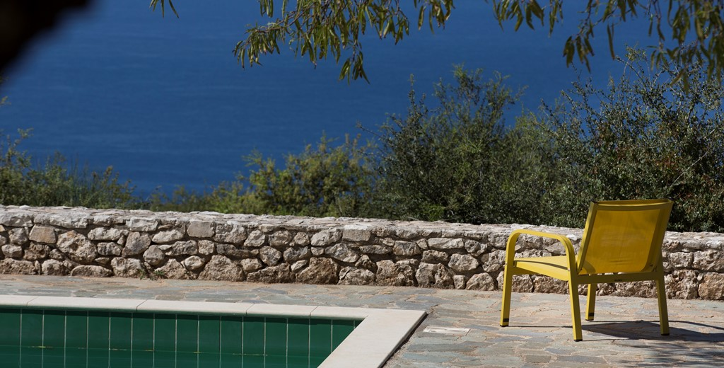 Lounge back and enjoy the views next to the pool on the terrace outside Lemoni Cottage, Fiscardo, Kefalonia