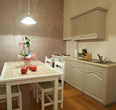 Galley kitchen and dining space inside Magnolia Apartments, Fiscardo, Kefalonia, Greek Islands