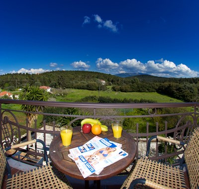 Panoramic countryside views from the balconies of Magnolia Apartments, Fiscardo, Kefalonia, Greek Islands