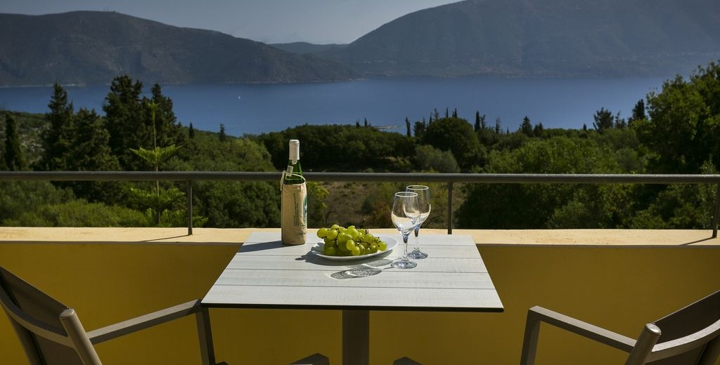 A private moment for couples enjoying the views and a glass of wine at Villa Cypress, Fiscardo, Kefalonia, Greek Islands