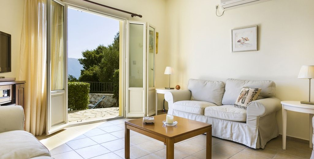 Lounge space for the family to relax in after a hard day sunbathing inside Villa Cypress, Fiscardo, Kefalonia, Greek Islands