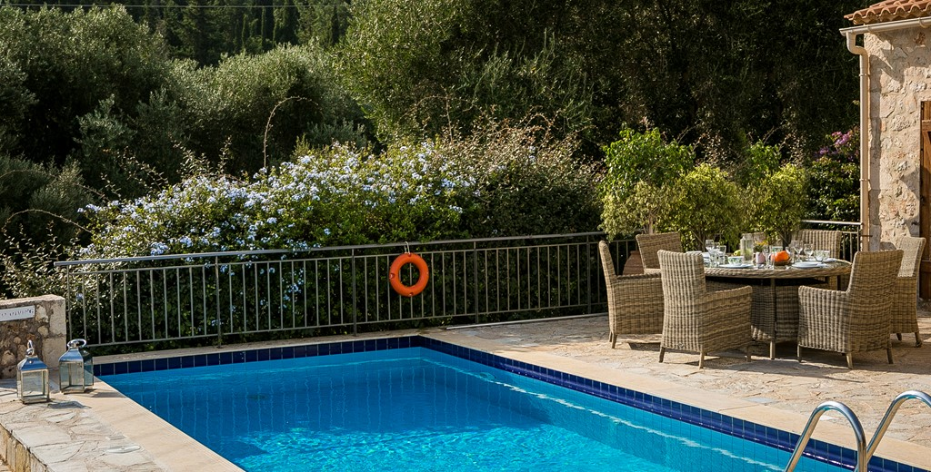 Private pool and established gardens and greenery surrounding Villa Pelagia, Fiscardo, Kefalonia, Greek Islands