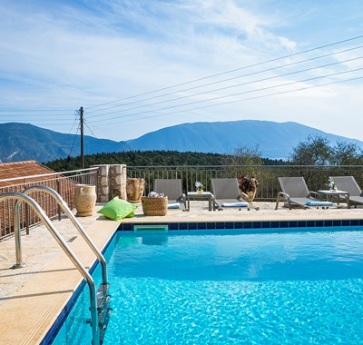 A pool and sunbathing spot with a view, Villa Pelagia, Fiscardo, Kefalonia, Greek Islands