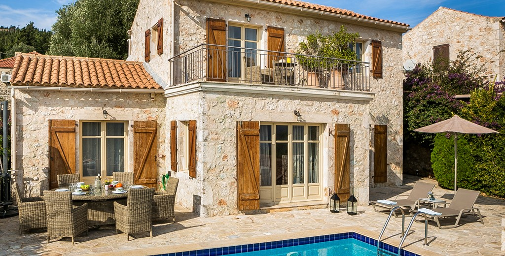 Traditional rustic stone built villa with a balcony and its own pool, Villa Pelagia, Fiscardo, Kefalonia, Greek Islands