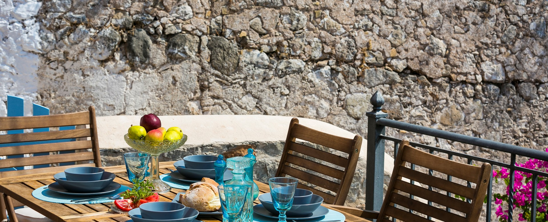 Al fresco dining in the outside spaces of Thalassa House, Assos, Kefalonia, Greek Islands