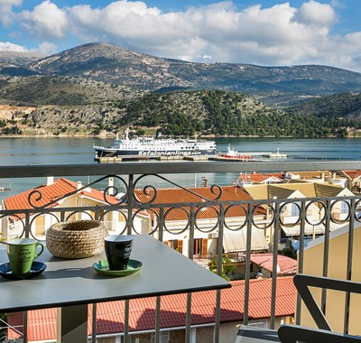 Start the day with morning coffee enjoying the views from Marina Penthouse Apartment, Argostoli, Kefalonia, Greek Islands
